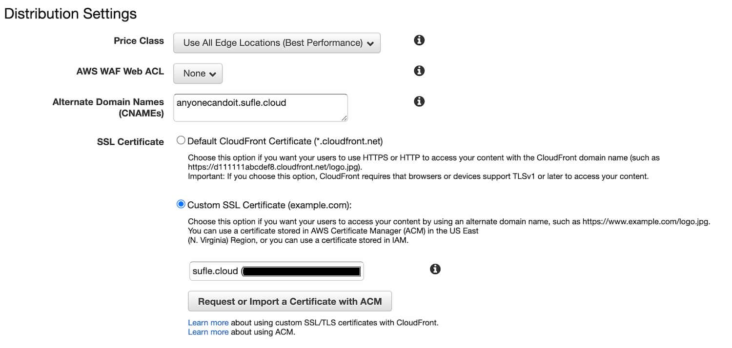 CloudFront set Custom SSL Certificate