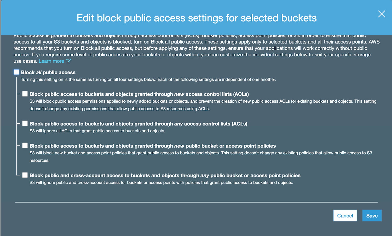 Edit S3 buckets public access settings