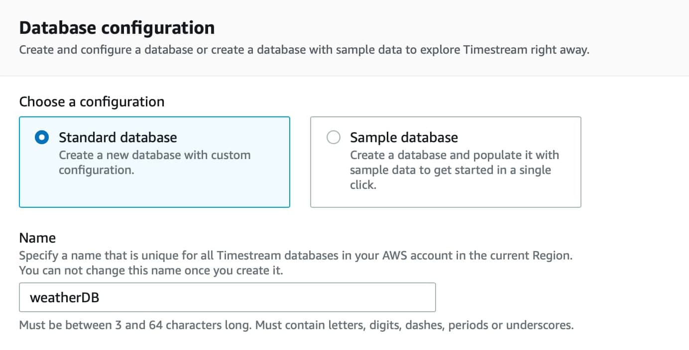 Create database from Amazon timestream console